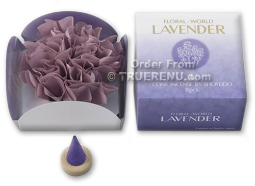 PHOTO TO COME: Shoyeido Floral World Lavender Cone Incense - 8 pcs