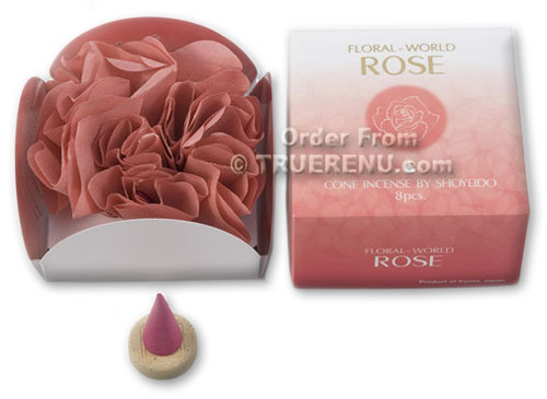 PHOTO TO COME: Shoyeido Floral World Rose Cone Incense - 8 pcs
