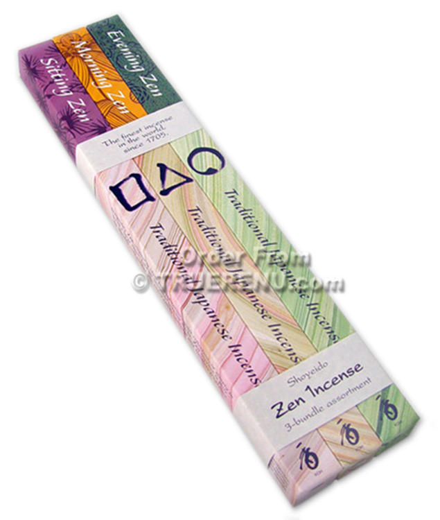 PHOTO TO COME: Shoyeido Zen 2 Hour Incense 3 Bundle Assortment - Sitting, Morning, Evening in 30-stick individual boxes - 90 Sticks Total