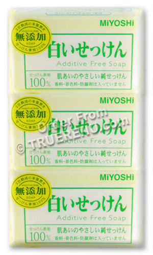 PHOTO TO COME: All-Natural MUTENKA Additive-Free Bar Soap from MiYOSHi - 108g x 3 bars