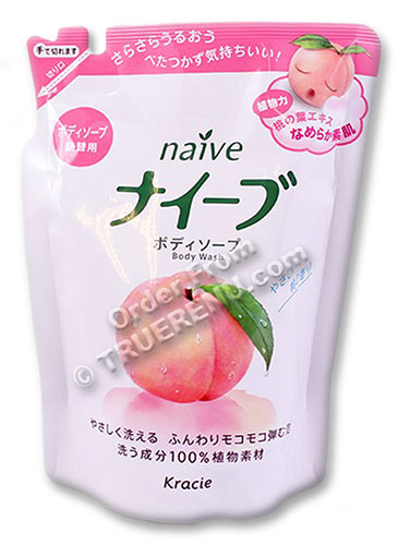 PHOTO TO COME: Kracie (ex Kanebo) Naive Peach Leaf Body Wash - 420ml Refill