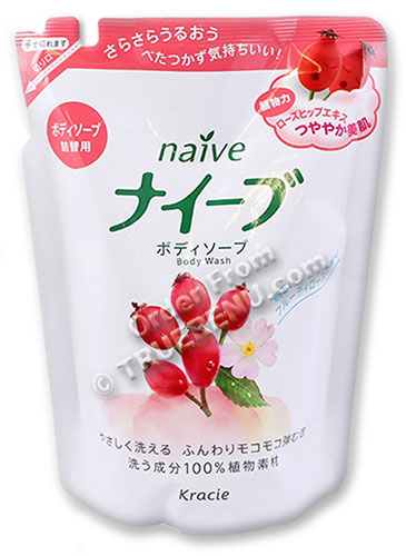 PHOTO TO COME: Naive Rosehip Body Wash by Kracie - 420ml Refill