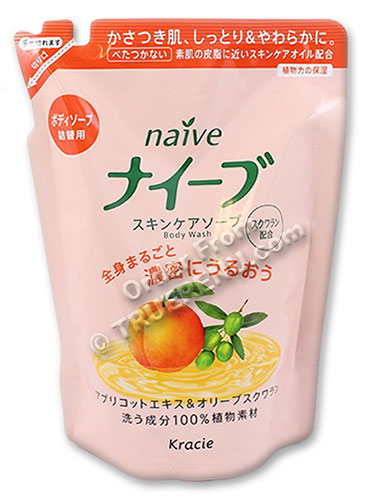 PHOTO TO COME: Naive Apricot & Olive Body Wash by Kracie - 420ml Refill
