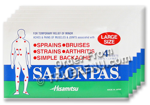 PHOTO TO COME: SALONPAS Large Pain Relief Patches - - 5 PAK of 4 = 20 total - SAVE $$$ !