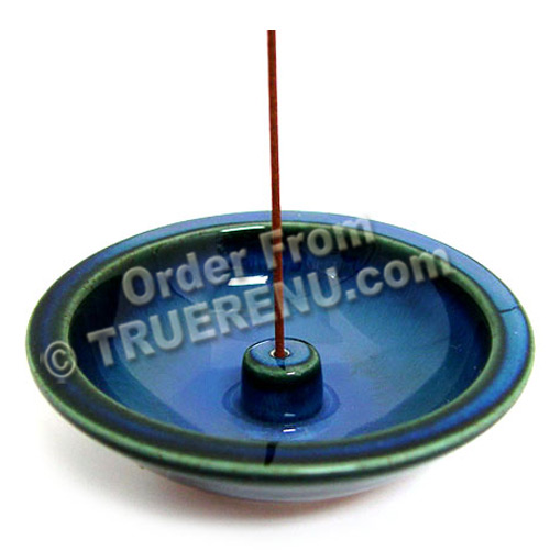 PHOTO TO COME: Shoyeido HandCrafted Ceramic Round Incense Burner/Holder - Denim