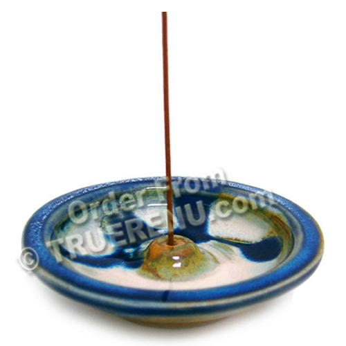 PHOTO TO COME: Shoyeido HandCrafted Ceramic Round Incense Burner/Holder - Blue Rim